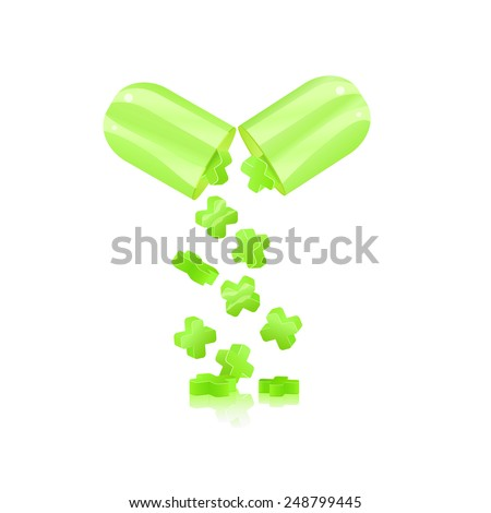 Green Medicine Capsule. Pill isolated on White Background. - stock photo