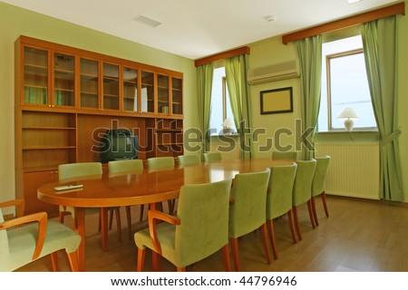 green meeting room - stock photo