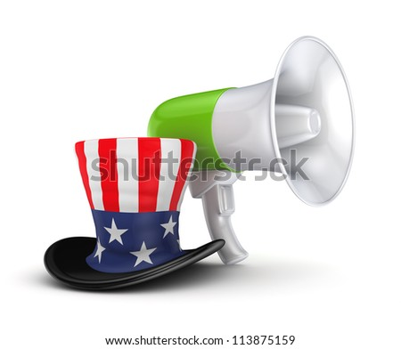 Green megaphone and Un?le Sam's hat.Isolated on white.3d rendered. - stock photo