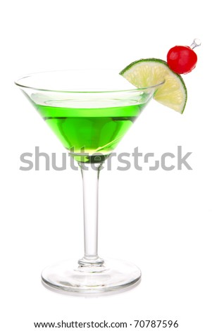 Green melon ball martini alcohol cocktail with vodka, light rum, gin, tequila, blue curacao, lemon juice, lemonade, lime slice, maraschino cherry isolated on a white background - stock photo