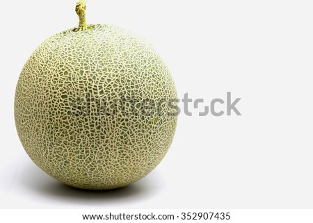 Green Melon isolated on white background - stock photo