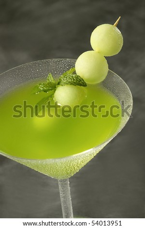 Green Melon Martini Cocktail - stock photo