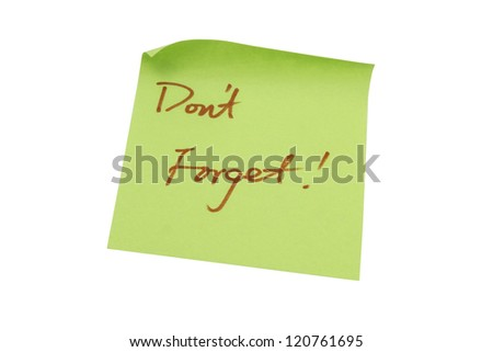 Green memo paper isolated on white background