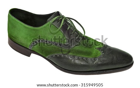 Green men genuine leather shoes - stock photo