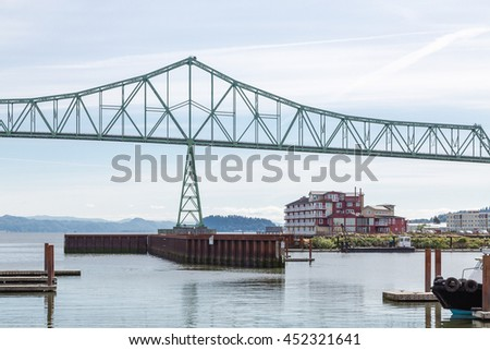 Green Metal Bridge Over River in Astoria Oregon