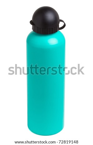 Green metal camping water bottle isolated on white. - stock photo