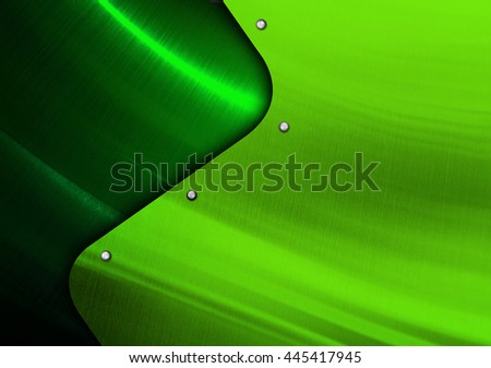 green metal design with curve pattern - stock photo