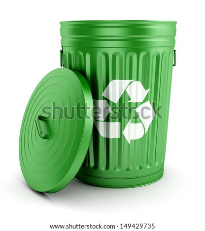 Green metal open trash can with recycling symbol and lid isolated on white background - stock photo