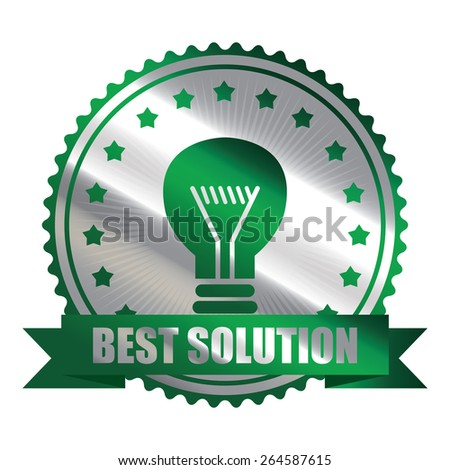 Green Metallic Best Solution Ribbon, Icon, Sticker, Banner, Tag, Sign or Label Isolated on White Background - stock photo