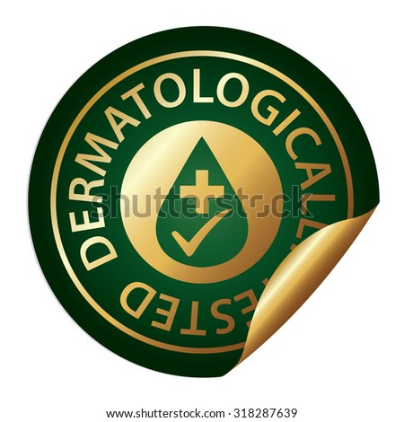 Green Metallic Dermatologically Tested Infographics Peeling Sticker, Label, Icon, Sign or Badge Isolated on White Background  - stock photo