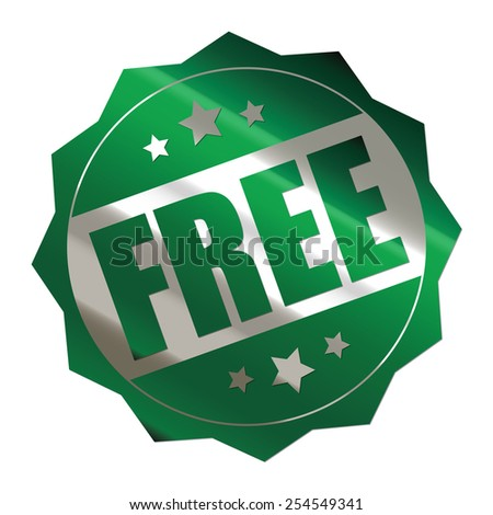 green metallic free sticker, banner, sign, icon, label isolated on white - stock photo