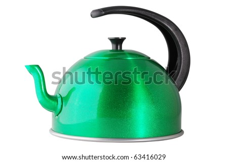 green metallic kettle isolated on white with clipping path