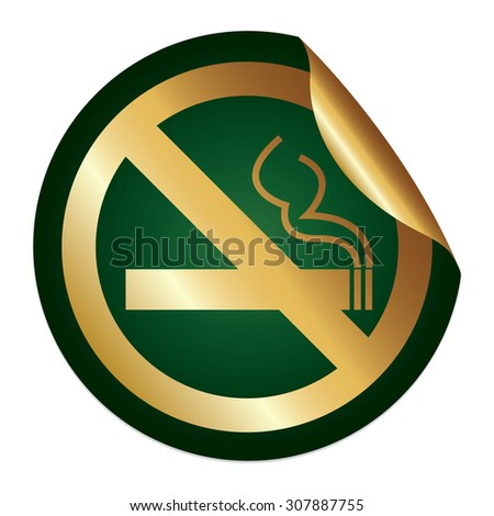 Green Metallic No Smoking Prohibited Sign Infographics Peeling Sticker, Icon or Label Isolated on White Background  - stock photo