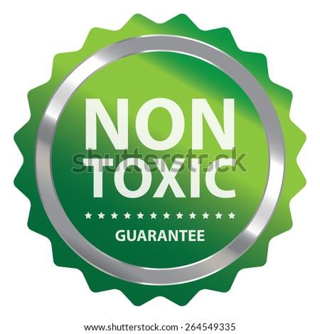 Green Metallic Non Toxic Guarantee Badge, Icon, Sticker or Label Isolated on White Background  - stock photo