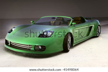 Green metallic sportscar on concrete floor. 3d render from my own design - stock photo