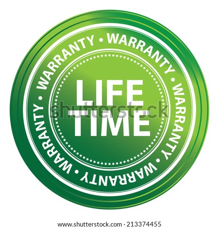Green Metallic Style Lifetime Warranty Icon, Badge, Label or Sticker for Product Warranty, Quality Control, Quality Assurance, Quality Management, CRM or Customer Satisfaction Isolated on White - stock photo