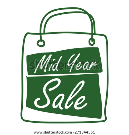 Green Mid Year Sale Shopping Bag Label, Banner, Sign or Icon Isolated on White Background - stock photo