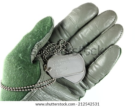 Green military aviator glove with dog tags - stock photo