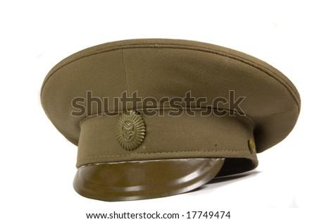Green military cap on white ground - stock photo