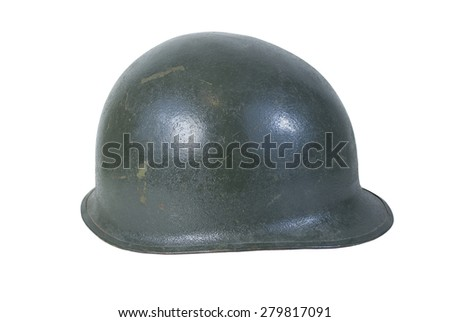 Green military helmet with a variety of scratches along the surface - path included - stock photo