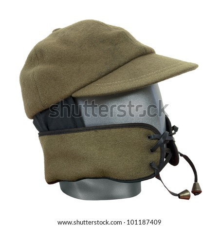 Green military wool hat with face guard - path included