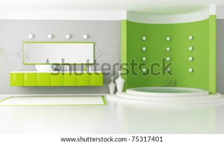 green modern bathroom with circular luxury bathtub - rendering - stock photo
