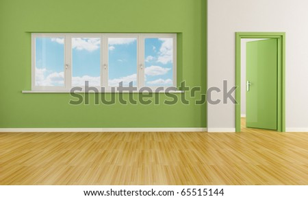 green modern empty room with door and windows - rendering - the image on background is a my photo - stock photo