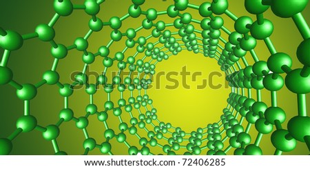 green molecular structure on yellow background - stock photo