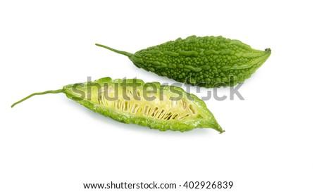 Green Momordica or karela,Fresh green bitter gourd on white background - stock photo