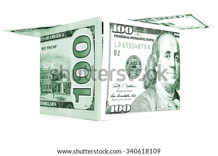 Green money shack, dollar cabin, currency hutch banknote house - stock photo