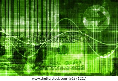 Green Money Technology Business Background as Art - stock photo
