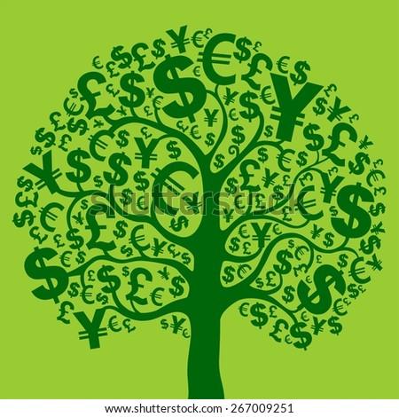 Green money tree.  Illustration - stock photo