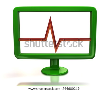 Green monitor with red pulse sign - stock photo