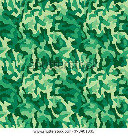 Green monochromatic camouflage pattern repeats seamlessly.