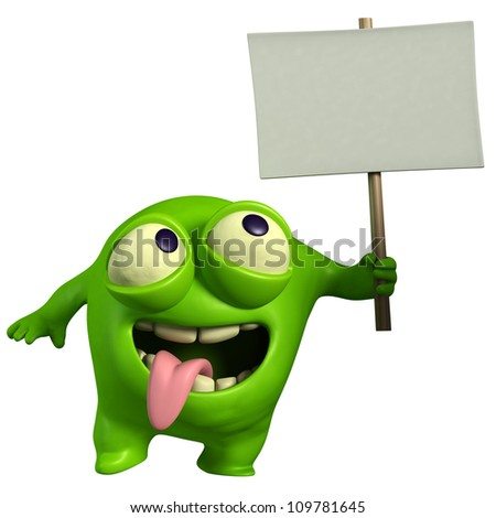 green monster holding placard - stock photo