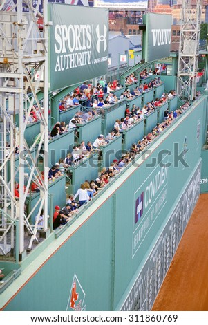 Green Monster leftfield wall at Historic Fenway Park, Boston Red Sox, Boston, Ma., USA, May 20, 2010, Red Sox versus Minnesota Twins, attendance, 38,144, Red Sox win 6 to 2 - stock photo