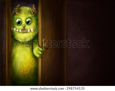 Green monster peering into the room - stock photo