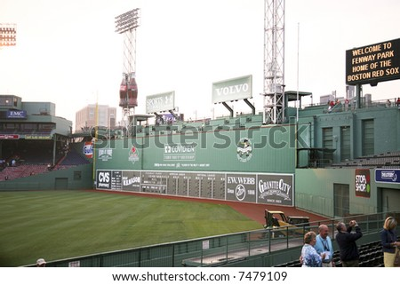 Green Monster seating at Fenway park in Boston, Massachusetts - stock photo
