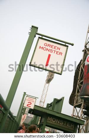 Green Monster seating in Fenway Park in Boston - stock photo