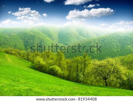 green mountain - stock photo