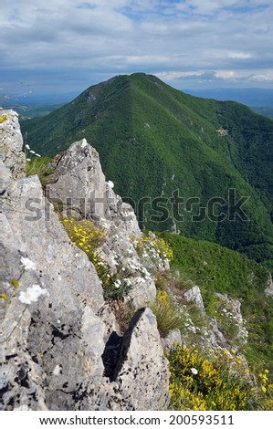 Green mountain and gorge - stock photo