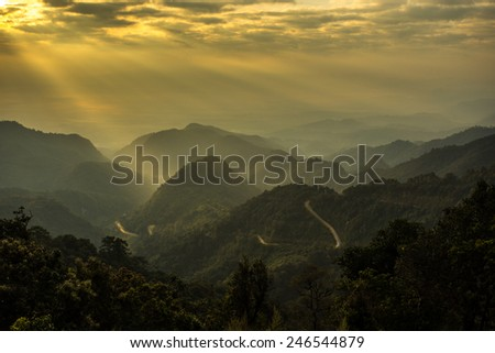 green mountain in north of Thailand