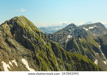 green mountain ridge scene - stock photo