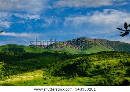Green mountain valley, Armenia - stock photo