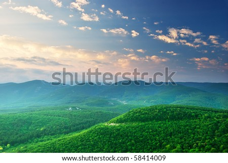 Green mountains hills. Composition of nature. - stock photo