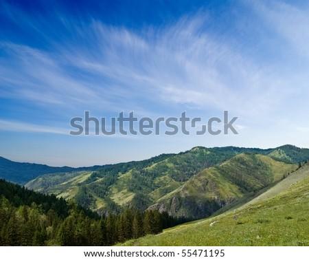 green mountains landscape - stock photo