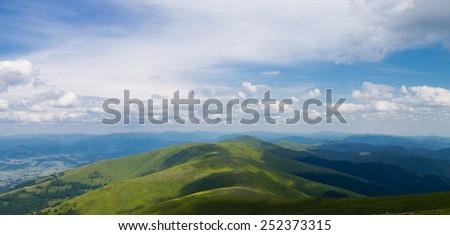 green mountains slopes landscape, Ukraine - stock photo