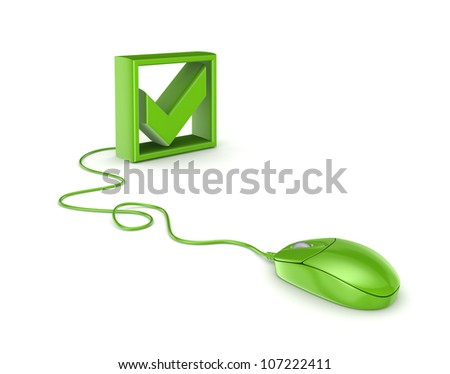 Green mouse and tick mark.Isolated on white background.3d rendered. - stock photo