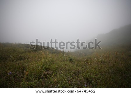 green moutain with fog