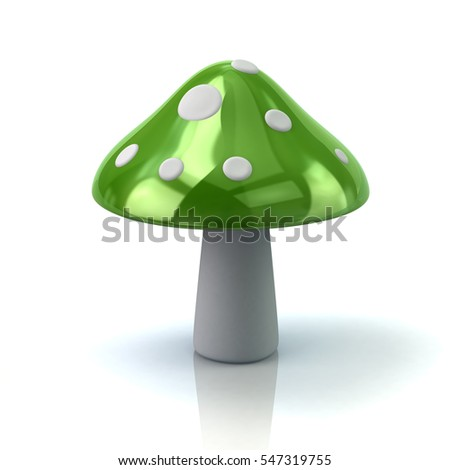 Green mushroom icon 3d rendering on white background